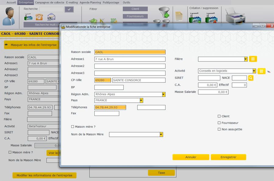 Modification de la fiche entreprise : Fiche entreprise : relation école/entreprises