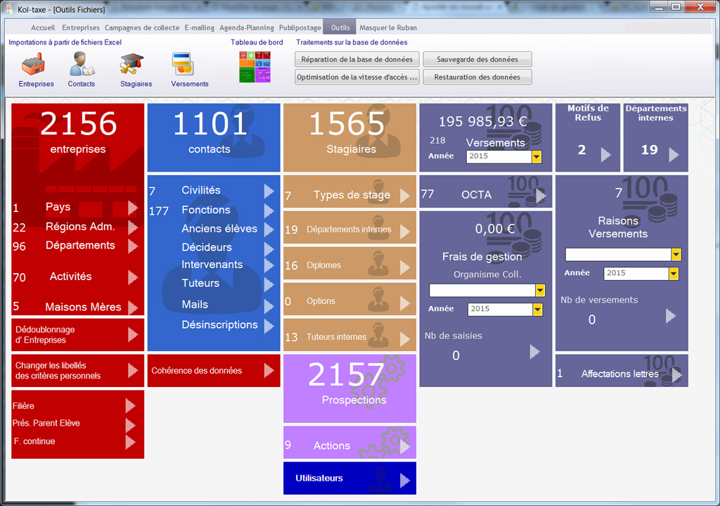 Kol-taxe version 2016 : le tableau de bord outils